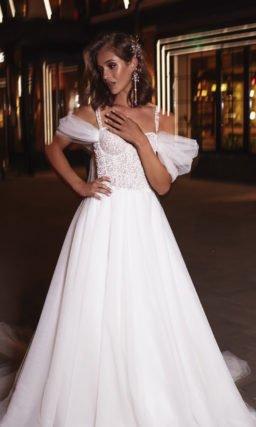 Cвадебное платье со съемными воздушными бретелями