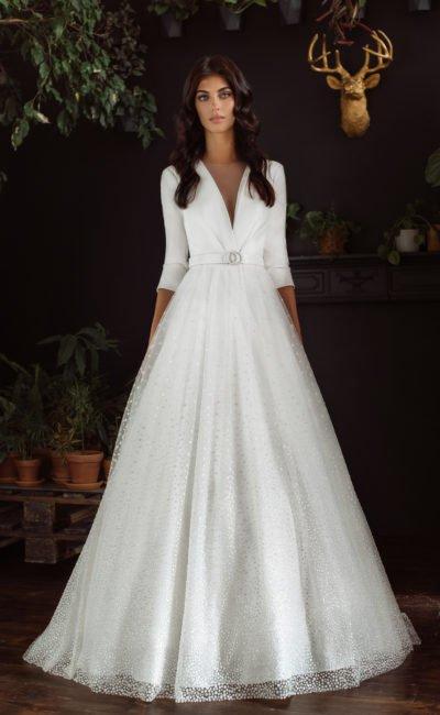 Платье с рукавом 1/2 свадебное
