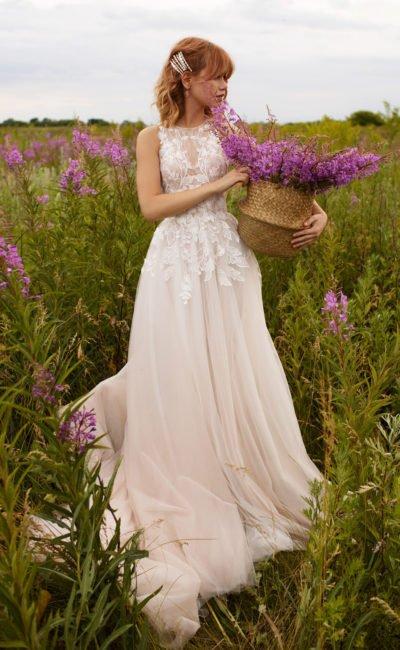 Cвадебное платье пудрового оттенка