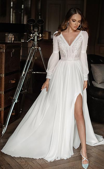 Свадебное платье благородного А-силуэта