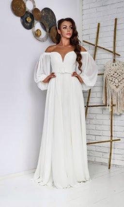 свадебное платье из молочного шифона