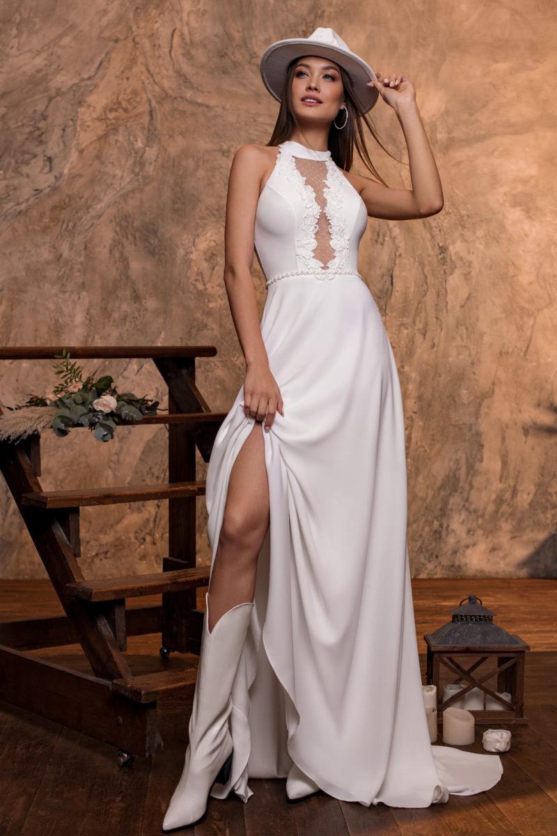 Свадебное платье с лифом «американка»