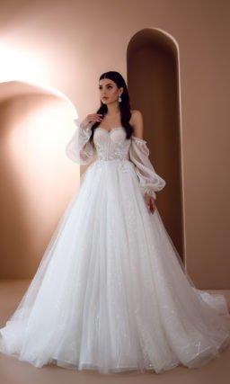 Свадебное воздушное платье с длинными рукавами