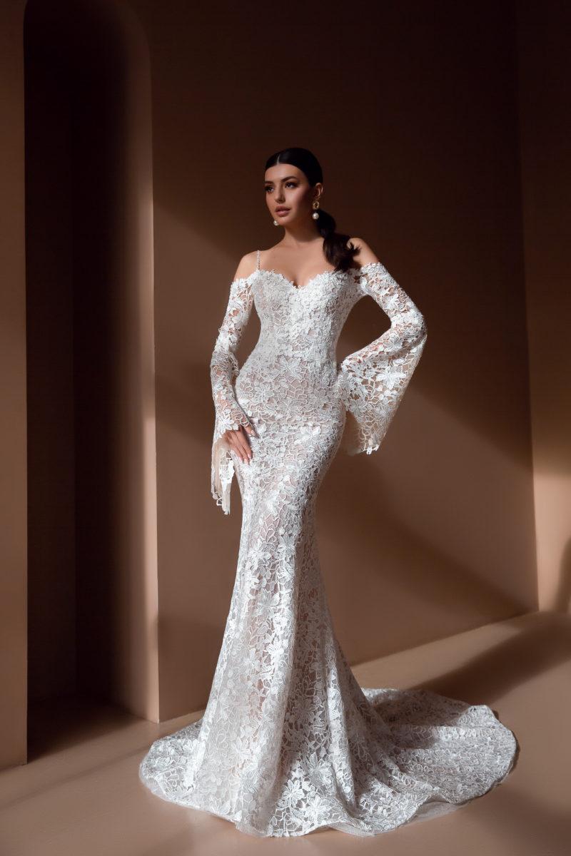 Ажурное свадебное платье русалка