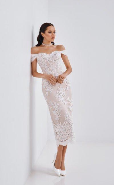 Короткое свадебное платье миди