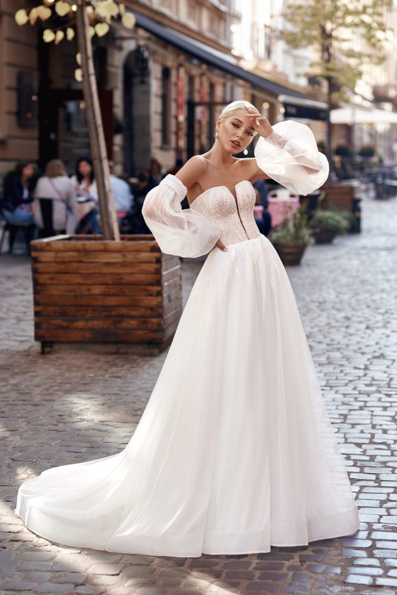 свадебное платье с длинными съемными рукавами