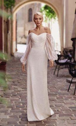 Прямое светло-бежевое платье свадебное