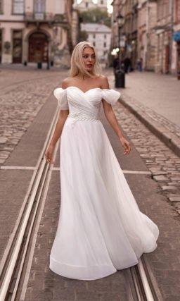 Свадебное платье из молочного фатина