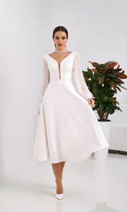 Короткое лаконичное свадебное платье