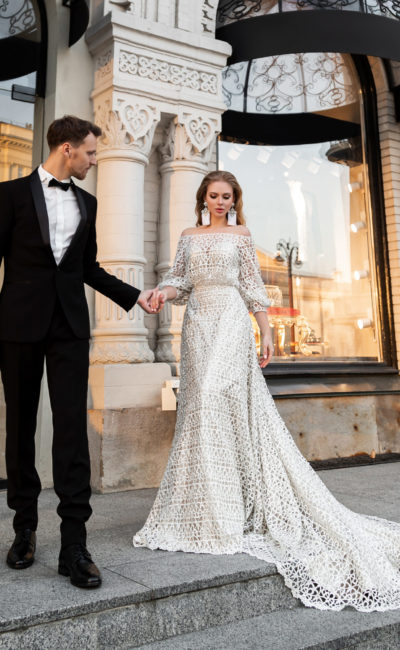 свадебное платье русалка в оттенке айвори