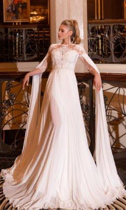 платье прямого кроя ажурным верхом