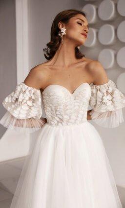 Женственное свадебное платье А-силуэта