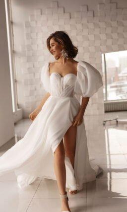 Свадебное платье с рукавами фонариком