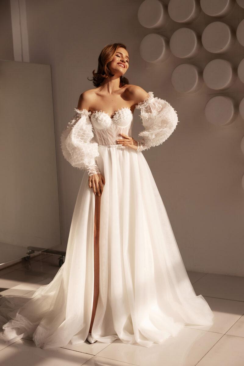 Свадебное платье с рукавом буф