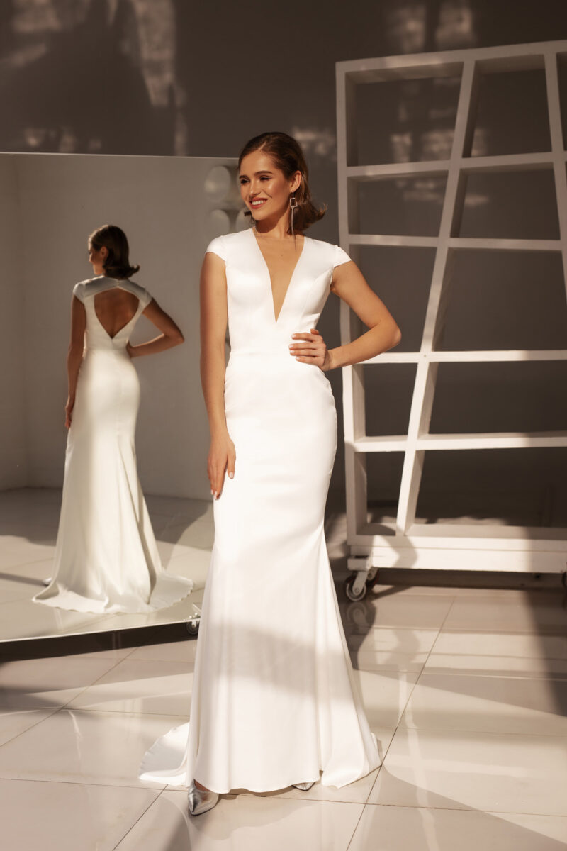 Свадебное платье рыбка простое