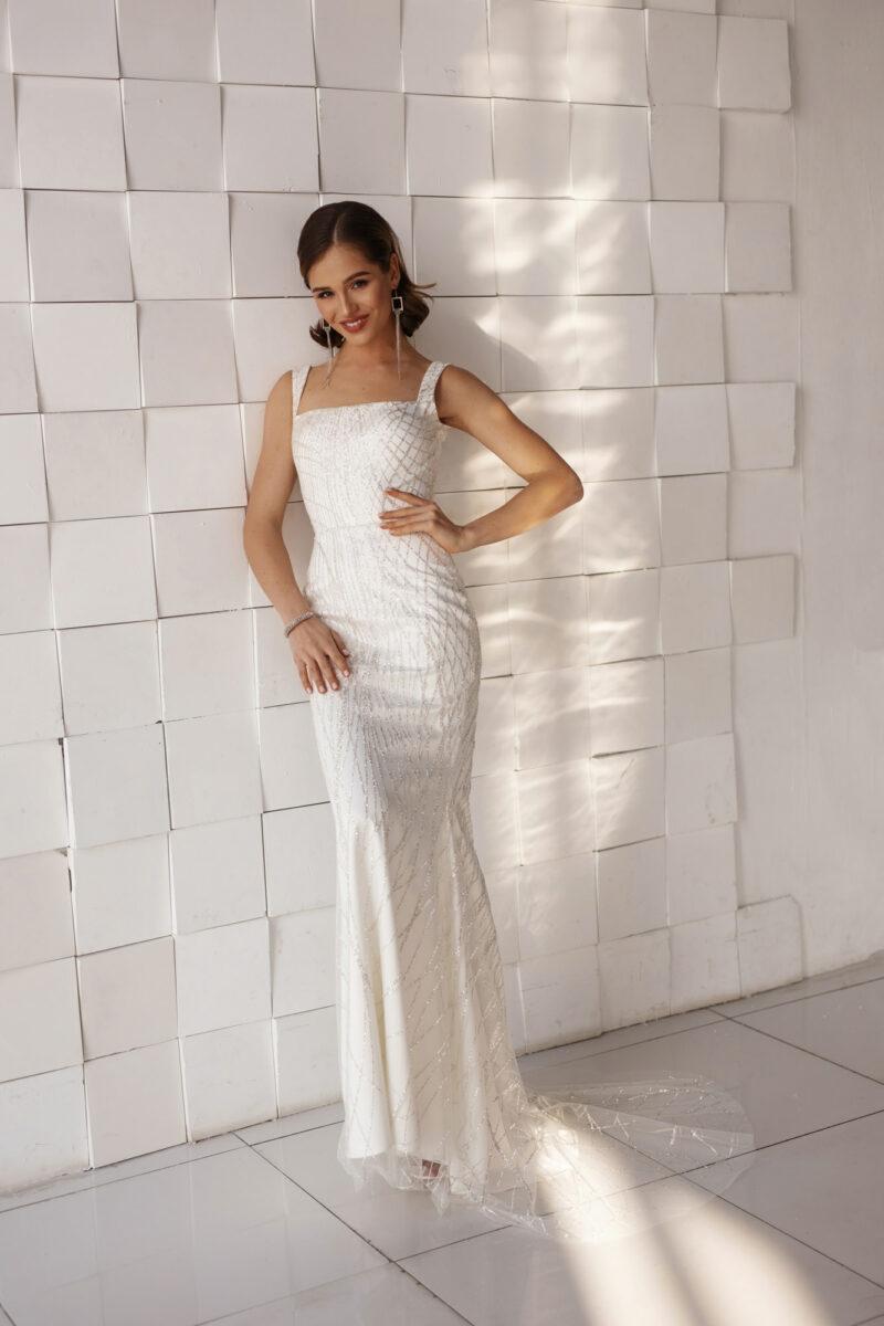 Красивое свадебное платье рыбка с блестками
