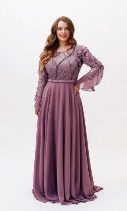 Фиолетовое платье plus size с рукавом