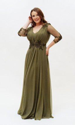 Зеленое платье plus size