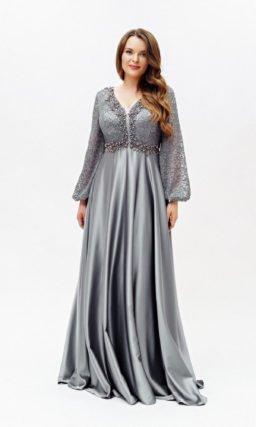 Серое блестящее платье