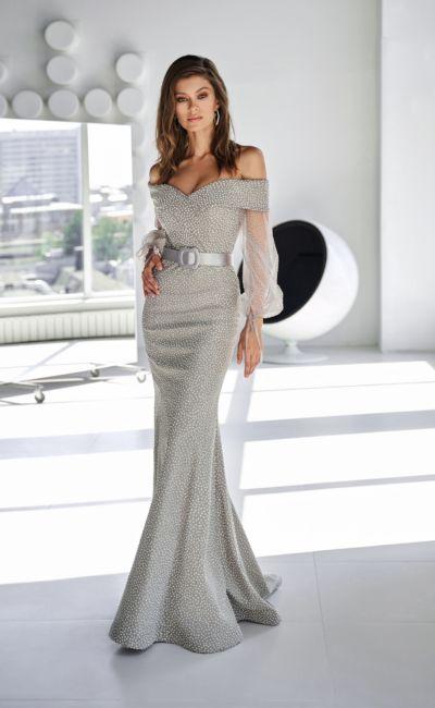 Серое платье русалка с поясом