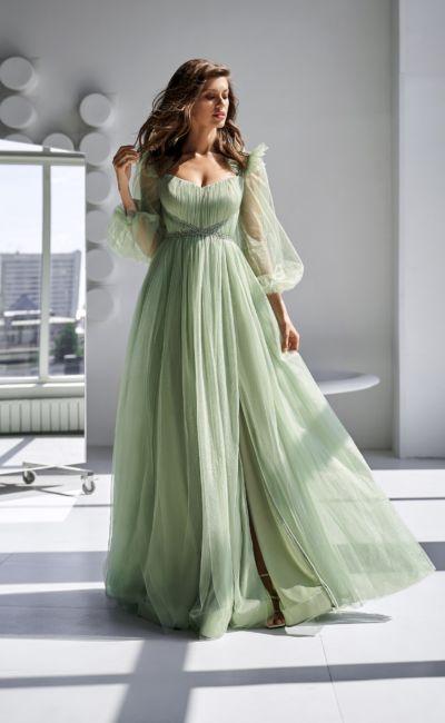 Светло-зеленое платье на свадьбу